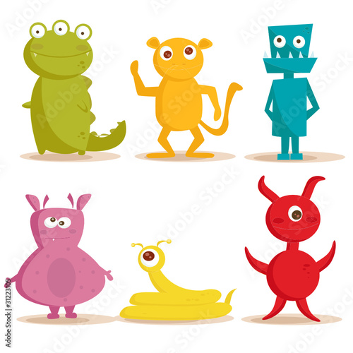 La pose en embrasure Creatures Cute monsters , vector illustration