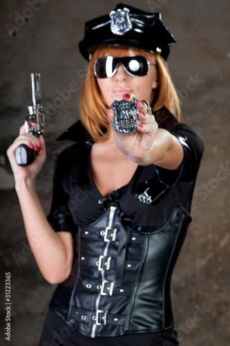 beautiful woman comic police Poster