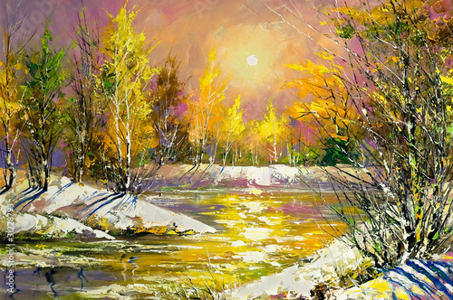 Printed kitchen splashbacks Purple Autumn landscape on the bank of the river