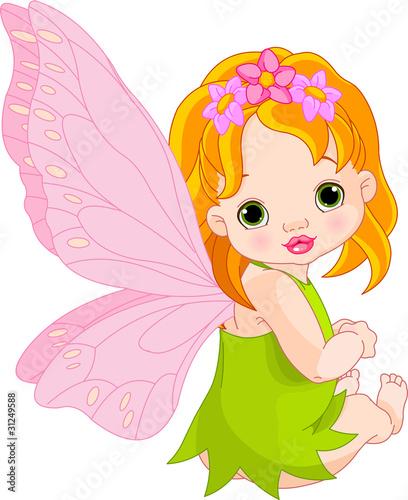 Foto auf Gartenposter Die magische Welt Cute baby Fairy