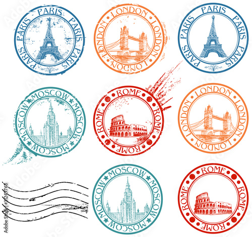 Canvas Print City stamps collection