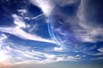 Fototapeta planety i deszcz meteorów