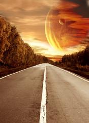 Fototapeta kosmiczna droga do planet