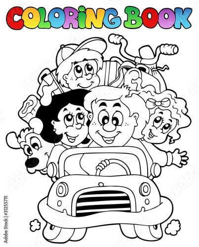Tuinposter Doe het zelf Coloring book with family in car