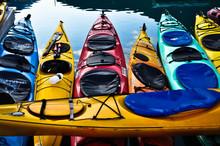 Sea Kayaks In A Harbor