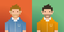Two Mens Pixelated Art