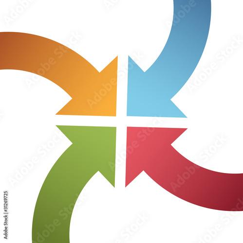 Photo  Four curve color arrows converge point center