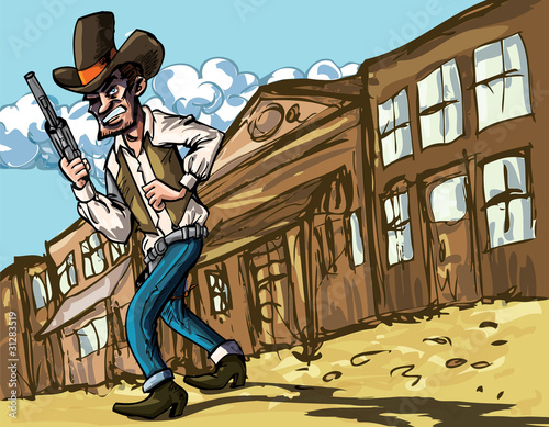 Aluminium Prints Wild West Cartoon cowboy with sixguns