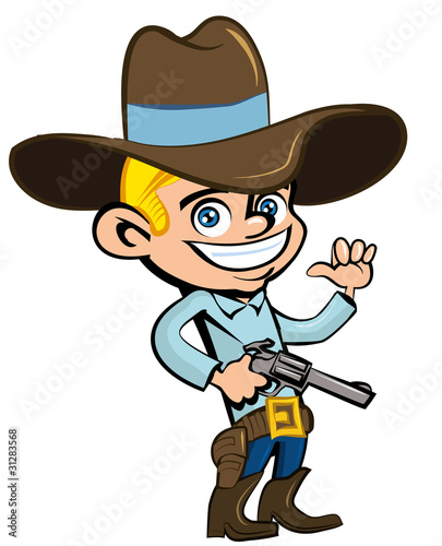 Poster de jardin Ouest sauvage Cartoon cowboy with sixguns