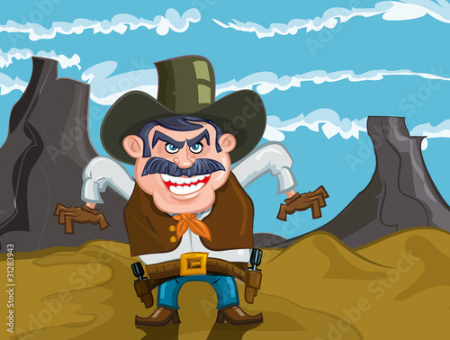 Deurstickers Wild West Cartoon cowboy with an evil smile