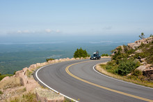 Car On Cadillac Mountain Drive In Acadia National Park