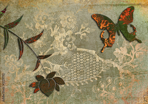 Foto auf Gartenposter Schmetterlinge im Grunge abstract retro background with butterfly and flower