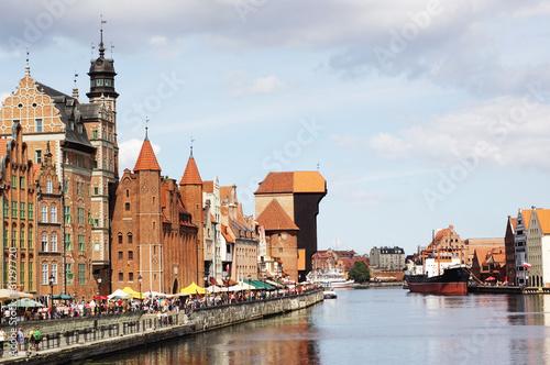 Motlawa river quay in Gdansk, Poland