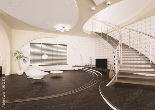Modern Wohnzimmer Mit Treppe Interior 3d Render