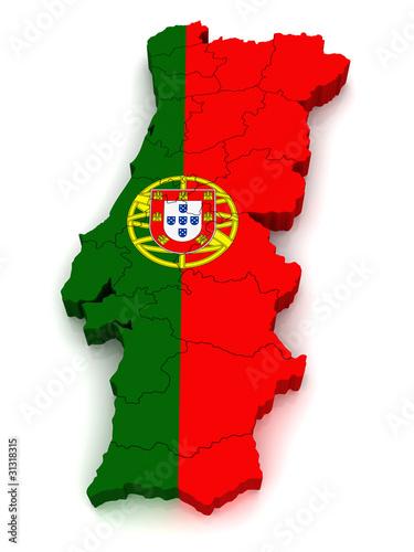 Fotografie, Obraz  3D Map of Portugal