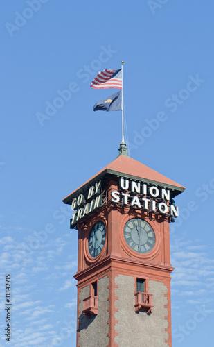 Portland Oregon Union square trainstation tower Canvas Print