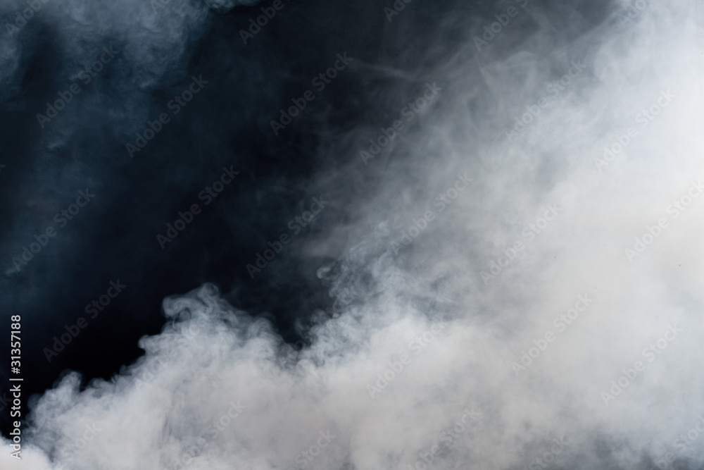 Fototapety, obrazy: White smoke on black background. Isolated.