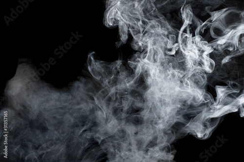 Poster Fumee White smoke on black background. Isolated.