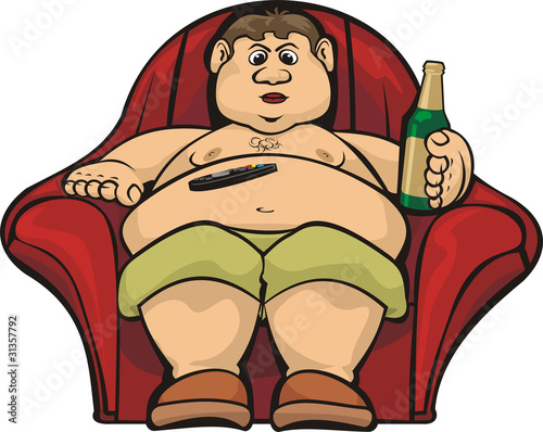 Fotografie, Obraz idler - fat guy after work