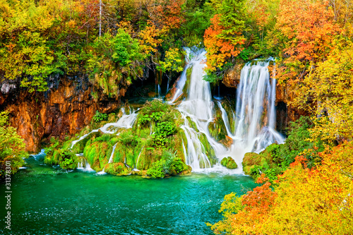 Obraz Waterfall in Autumn Forest - fototapety do salonu