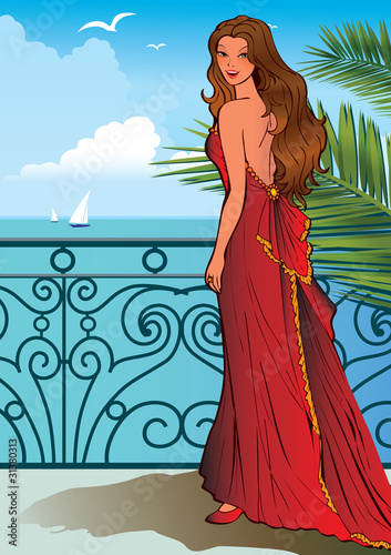 Poster Castle Beautiful girl on a ocean background.