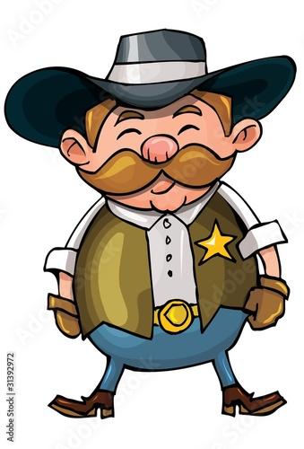 Aluminium Prints Wild West Cute cartoon cowboy with a gun belt