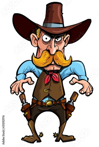 Fotografie, Obraz  Cartoon cowboy with a gun belt