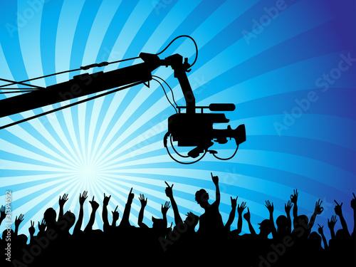 Fotografia  tv camera with crowds