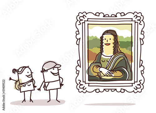Fotografia couple of tourists watching the Mona Lisa