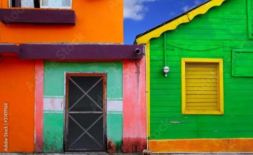 Foto op Plexiglas Caraïben colorful Caribbean houses tropical Isla Mujeres