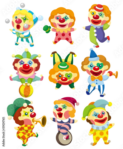 Deurstickers cartoon clown icon
