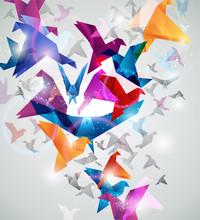 Paper Flight. Origami Birds. Abstract Vector Illustration.