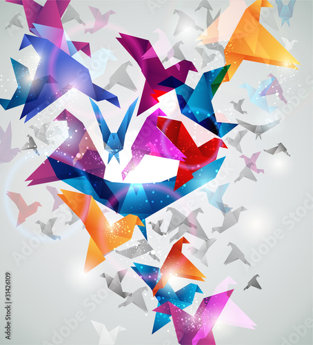 Photo Stands Geometric animals Paper Flight. Origami Birds. Abstract Vector Illustration.