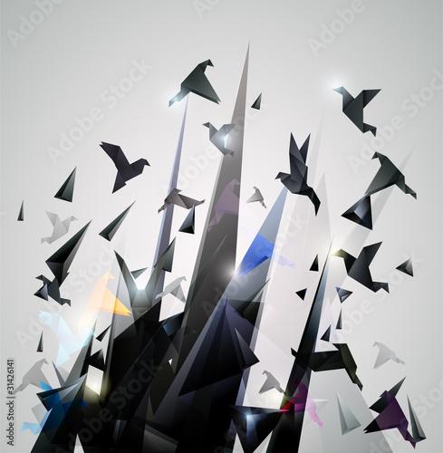papierowa-ucieczka-origami-abstrakcjonistyczna-wektorowa-ilustracja