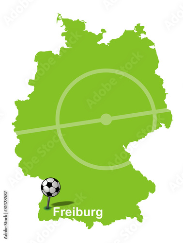 Fussballstadt Freiburg Deutschlandkarte Buy This Stock Vector And