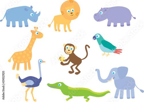 Poster de jardin Zoo African animals and birds