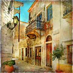 Obraz na Szkle Uliczki pictorial old streets of Greece