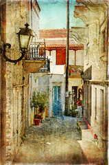 Obraz na Szkle Uliczki old greek streets- artistic picture