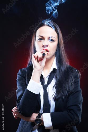 Fotobehang womenART Beautiful elegant young woman with cigar