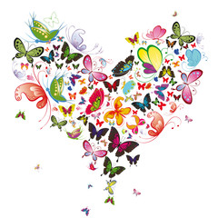 Naklejka Do sypialni Butterfly heart, valentine illustration. Element for design