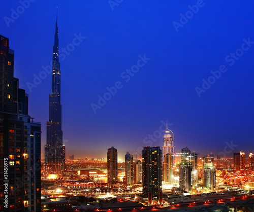 Fototapeta Dubai downtown w nocy