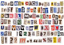 Newspaper Alphabet Isolated