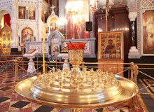 Stand For Candles Inside Cathedral Of Christ The Saviour