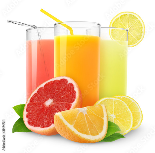Isolated citrus juice. Three glasses with orange, grapefruit and lemon juice and cut fruits isolated on white background #31494734