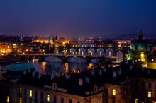 Illuminated Prague Briges Night Panorama, Czech Republic