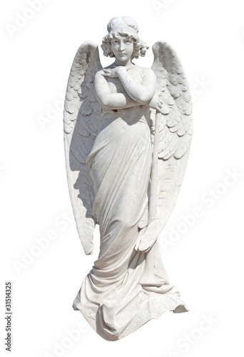 Tuinposter Boeddha Statue of a young angel isolated on white with clipping path
