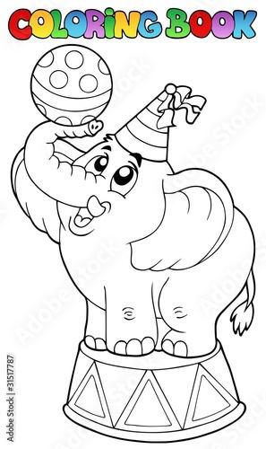Tuinposter Doe het zelf Coloring book with circus elephant