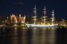 Night View Of The Af Chapman Sailing Ship In Stockholm, Sweden
