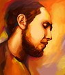 bright portrait of man with beard, digital painting