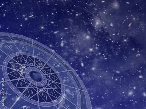 Photo Zodiac circle on star field